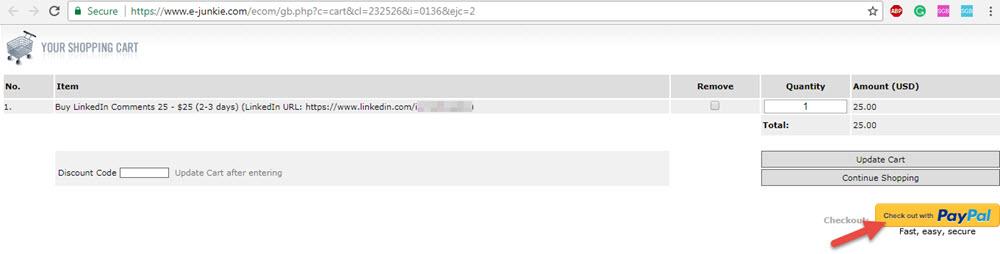 Buy linkedin comments Paypal checkout