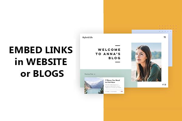 Embeded Links in Website or Blogs